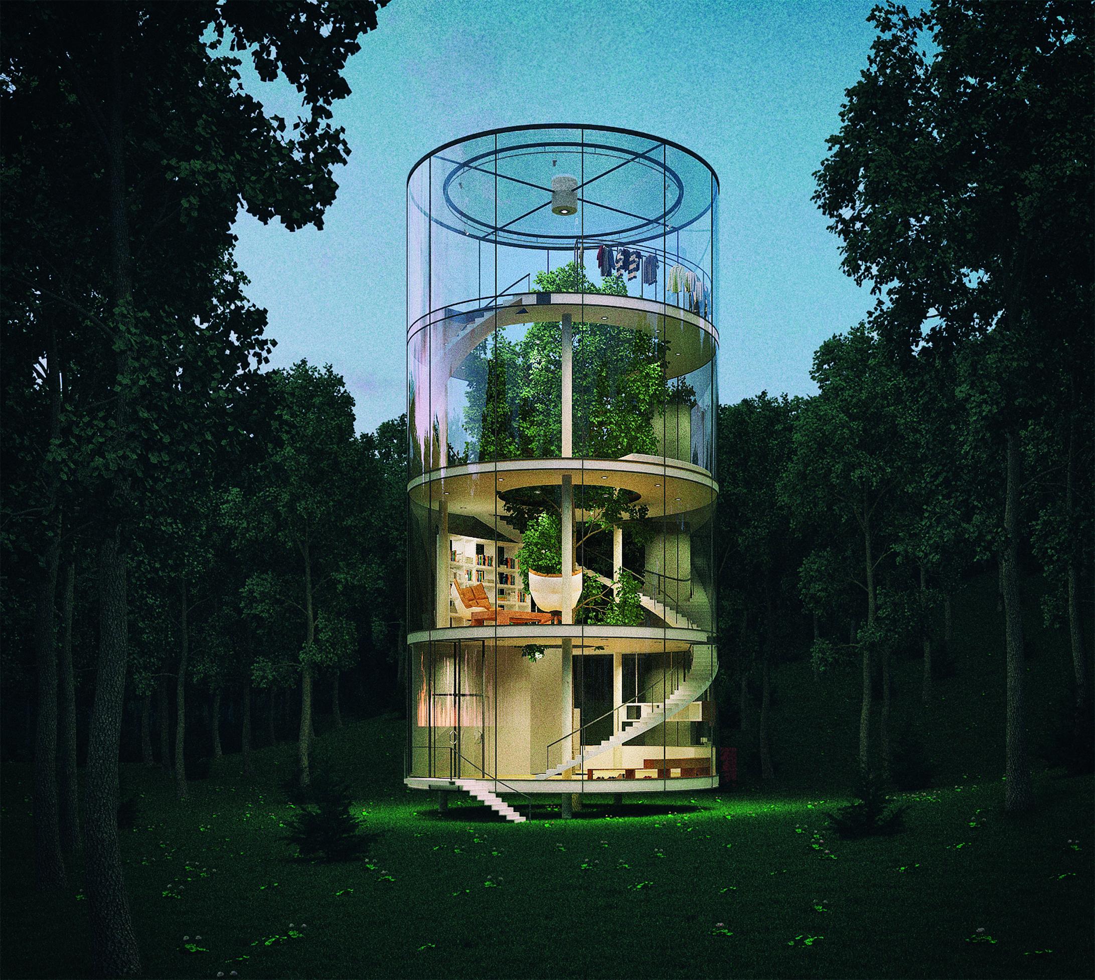 Tree in the House, une maison cylindrique en verre au milieu de la forêt à Almaty