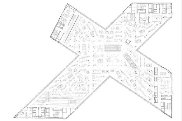 bibliotheque Caen OMA L1 585x390 - Bibliothèque de Caen par OMA : un plan en croix