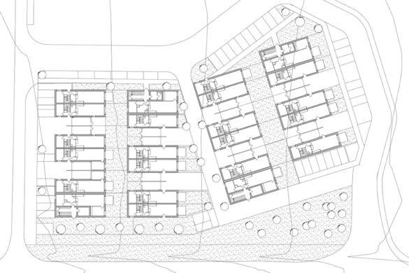 05 atelier martel Logements Homecourt Plan RDC 585x390 - Plaidoyer pour l'ordinaire: 35 logements par l'agence Atelier Martel à Homécourt