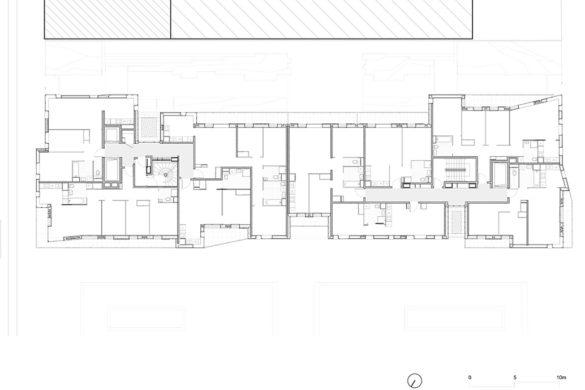 logements harari architecte Plan etage courant 100e 585x390 - Tour de bronze : 75 logements par Jean et Aline Harari