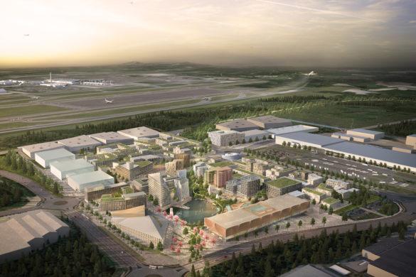 Haptic OAC Phase 1 aerial 585x390 - Aérotropolis d'Oslo, en route vers la ville durable du futur