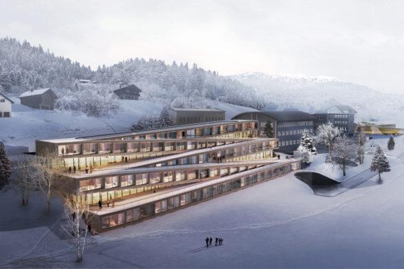 01 big audemars piguet hotel image by big bjarke ingels group original 585x390 - BIG dévoile les images d'un hôtel zigzag en Suisse avec toiture skiable