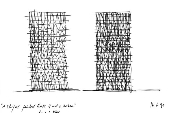 DominiquePerraultlaBnFcroquisd'étude1990©DominiquePerraultarchitecteAdagp2 585x390 - Dominique Perrault : La Bibliothèque nationale de France, portrait d'un projet