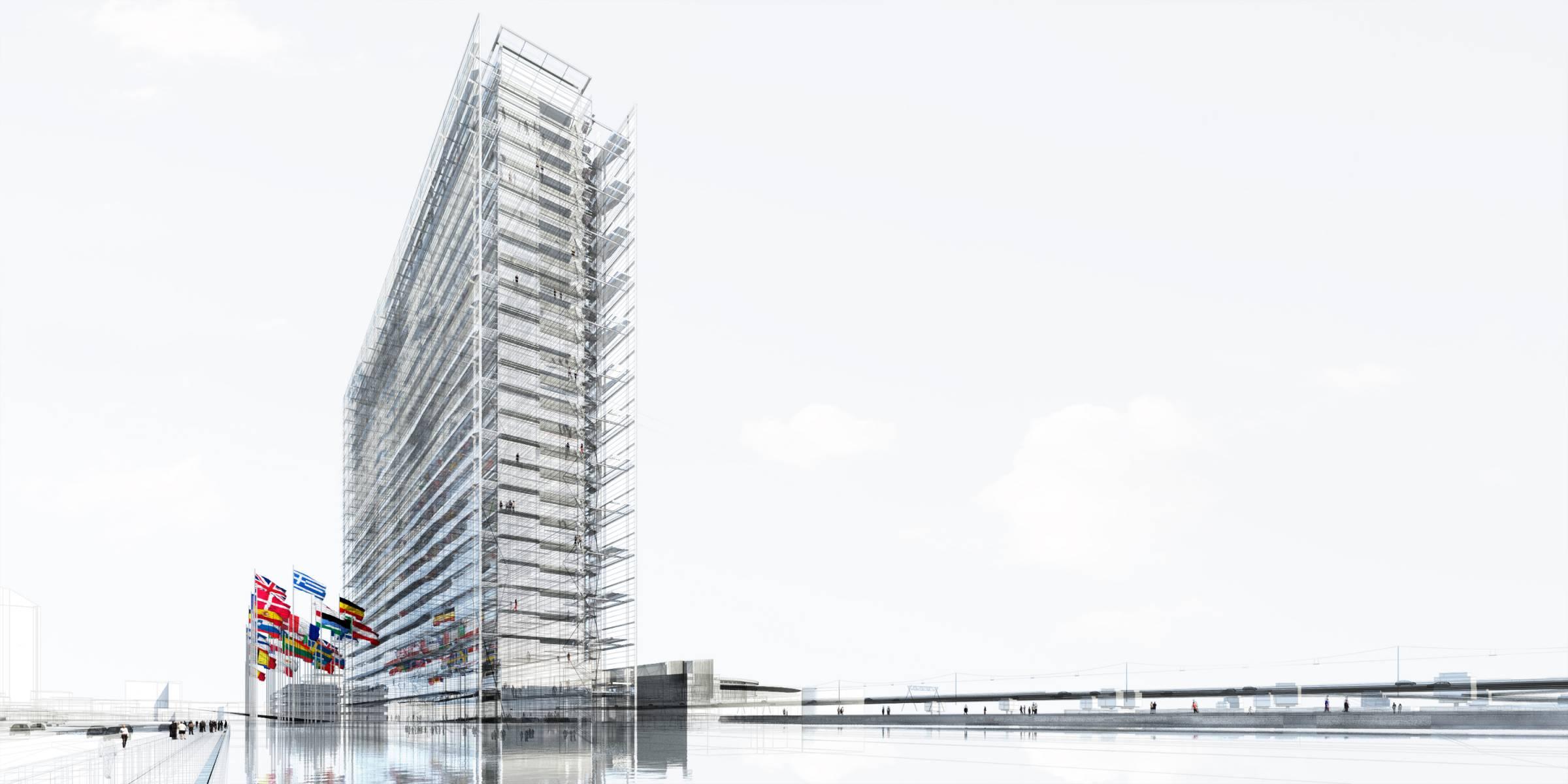 3 ajn dpa tbi rijswijk epo exterior e 2 perspective view from pond 2400x1200 - L'expérience de l'horizontalité vue par Jean Nouvel avec l'ouverture d'un nouveau bureau européen des brevets aux Pays-Bas